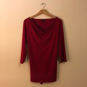 Red blouse.